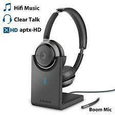 Avantree Alto Clair Low Latency Wireless Headphones w/Boom Mic Charging Stand