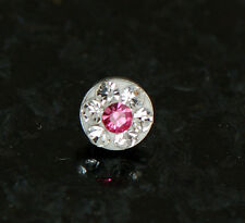 1 Pc Multi Gem Ferido Pink & Clear C.Z. 4MM Dermal Anchor Heads 14G 1.6mm
