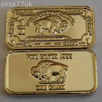 1 GRAM PURE 999 FINE SOLID SILVER + 24k GOLD BUFFALO BULLION BAR INGOT GIFT UK