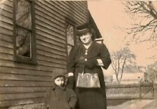 Vintage Antique Photograph Mom Wearing a Crazy Hat with Little Boy