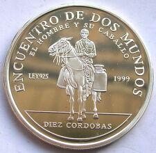 Nicaragua 1999 Encuentro De Dos Mundos 10 Cordobas Silver Coin,Proof