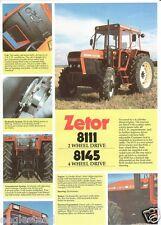 Farm Tractor Brochure - Zetor - 8111 8145 - c late 1980's (F1225)