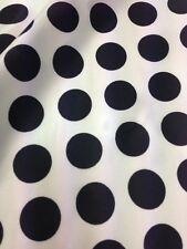 Designer Black  / White Soft Satin Print Polka Dots Dress Craft Fabric