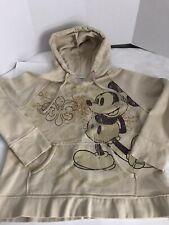 Disneyland Womens Xl Mickey Mouse Hoodie Beige Distressed Bling Fleur De Lis