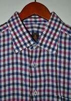 ROBERT TALBOTT Bespoke Shirt Size Medium TALL 100% Linen Plaid Made in USA