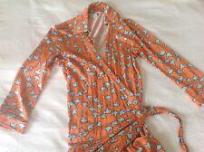 """Diane Von Furstenberg (0) 2/4 XS/S """"Abigail"""" Silk Maxi Wrap Dress Ginkgo Hemmed"""