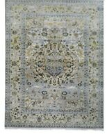 8x10 Handknotted Modern Art Artificial Silk/Wool Rug Ivory Gray Blue yellow Colo
