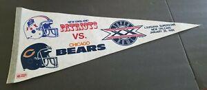 "1986 SUPER BOWL XX 20 NEW ENGLAND PATRIOTS vs CHICAGO BEARS 30"" PENNANT ORIGINAL"
