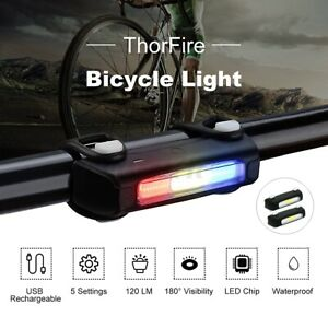 ThorFire Rechargeable LED  Bike Tail 7-Mode Waterproof Safe Rear Left Set