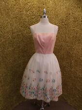 Vtg 1950s Embroidered Floral Chiffon Tulle Noodle Strap Summer Party Dress Sz M