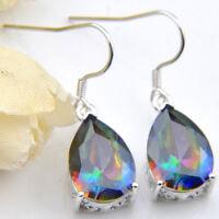Best Jewelry Gift Natural Rainbow Mystic Topaz Gemstone Silver Dangle Earrings