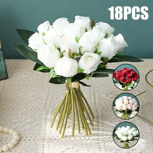 18 Heads Silk Rose Artificial Fake Flowers Bouquet Wedding Home Party Decor