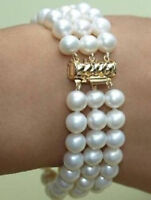 "Very beautiful natural 3 rows 8-9MM south sea white pearl bracelet 6.5 to 7"" 14k"