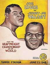 """JOE LOUIS VS """"JERSEY"""" JOE WALCOTT, VINTAGE BOXING PROGRAM, 1948"""
