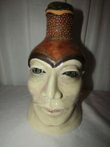 "Vintage Face Jug Vase North Carolina Pottery 11"" Tall Signed"