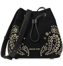 New Michael Kors Cary Embellished Suede Bucket Crossbody black suede gold stud