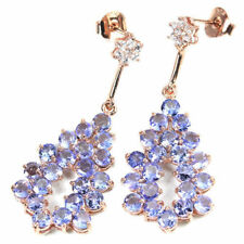 Sterling Silver 925 Rose Gold Coated Natural Tanzanite Cluster Earrings