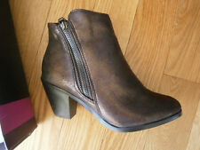 $59 NIB Lane Bryant Size 7 Wide Shoe Boot Ankle Metallic Brown Double Side Zip