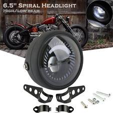 "Motorcycle Cafe Racer Bobber 6.5"" LED Headlight Spiral White Side Mount  Bracket"