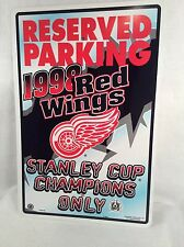 "PLASTIC SIGN RED WINGS 18""X12"" LICENSED"