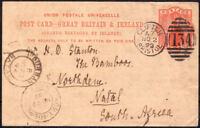 1893 1d PRINTED POSTCARD CLIFTON BRISTOL DUPLEX TO SOUTH AFRICA WITH CANCELS