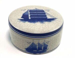 Ceramic Crackle Glaze Lidded Pot Trinkets Clipper Ships Desk Man Cave