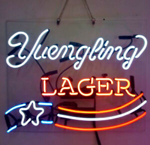 """19""""x15""""Yuengling Lager Neon Sign Light Beer Bar Pub Wall Decor Real Glass Tube"""