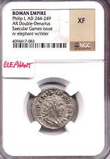 ROMAN EMPIRE Philip I 244-249 Double Denarius NGC XF ANT Saecular Elephant AC