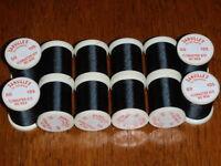 12 Spools Danville 6/0 Black Fly Tying Thread, No Wax