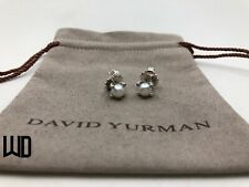 David Yurman Sterling Silver 6mm Pearl Diamond Stud Butterfly Earrings