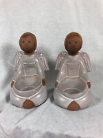 Pair Of Jie Sweden Ceramic Angel Tea Light Holders