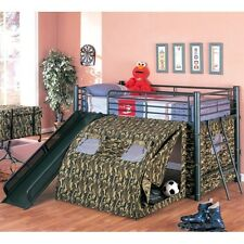 Oates Collection Lofted Bunk Bed With Slide and Tent Blackcamouflage 7470