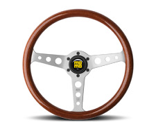 MOMO Heritage Indy Steering Wheel 350 Mahogany Wood Brushed Aluminum Round Holes