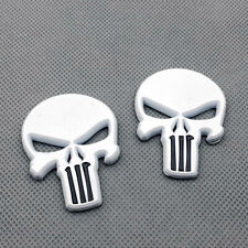 2Pcs Car Body White Metal The Punisher Skull Badge Rear Lid Trunk Emblem Sticker