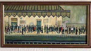 L.S.Lowry painted copy of (Railway Platform 1953).