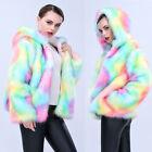 Talla Grande Mujer Cálido Para Invierno Suéter ARCOIRIS COLOR sudaderas chaqueta