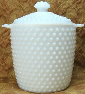 "vintage white milk glass hobnail 9:""h  cracker biscuit cookie jar w/lid handles"
