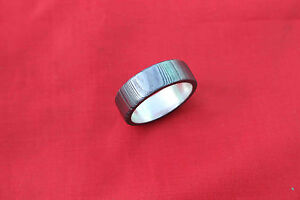 custom made beautiful damascus steel silver liner inside ring size US 10/ 20 mm4