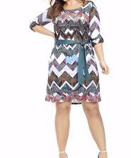 Jete By Gwynnie Bee Mixed Print Chevron Belted Shift Dress Size 2X (18W-20W)