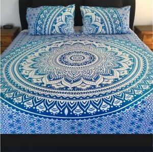 Indian Ombre Multi Blue Bed Sheet Cover Queen Size Bedspread Set With 2 Pillows