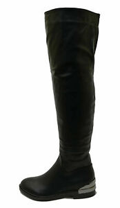 LADIES BLACK FLAT OVER THE KNEE HIGH TALL ZIP-UP RIDING WORK BOOTS SHOES UK 3-8