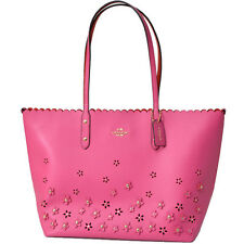 New COACH special edition 3D Flower Floral stud laser cut Leather Pink Tote Bag
