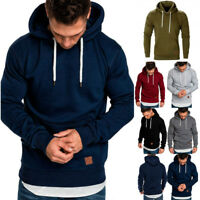 Mens Plain Hoodie Hooded Sweatshirt Casual Jumper Pullover Coat Jacket Plus Size
