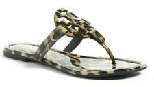 Tory Burch Miller Womens Flat Thong Sandals Leopard Print Patent Leather Size 12