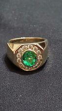 1.57 CT GREEN EMERALD DIAMOND RING 14K YELLOW GOLD CUSTOM MADE
