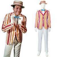 Mary Poppins Cosplay Costume Bert Dick Van Dyke Uniform Suit Full Set Halloween