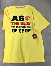 New W/ Tag Manchester United England Red Devils Yellow Tee Shirt - Size XL