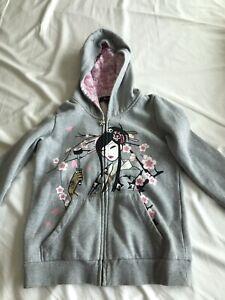 Tokidoki Women's Sweatshirt Hoodie Comfy Grey Zipper Size Small
