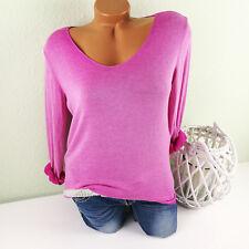 ♥ Italy Pullover Damen Feinstrick Pulli Basic Viskose PINK 36 38 40 S M F51