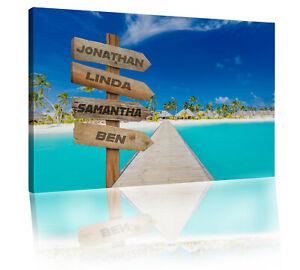 Custom Names Personalised Sign Pier over Maldives Sea Canvas Wall Art Print